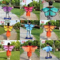 Wholesale Butterfly Poncho - New children 118*48cm Butterfly Printed Chiffon Beach Towel cartoon Butterfly Design Beach Shawl Poncho A08