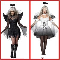şeytan kadın cosplay toptan satış-Cadılar bayramı siyah beyaz melek Vampir Şeytan Parti cosplay elbise kadın artı boyutu Masquerade gösterisi tema kostüm Headdress k ...