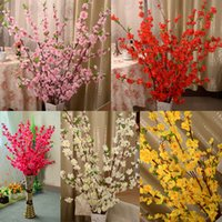 Wholesale Flowering Plum Trees - Artificial Cherry Spring Plum Peach Blossom Branch Silk Flower Tree For Wedding Party Home Decoration white red yellow pink color 3002019