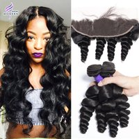 Wholesale Brazilian Curly Lace Frontal - 8A Brazilian Loose Wave Human Hair 3 Bundles With Frontal Brazilian Virgin Hair Bundles Loose Curly Weave Hair Bundles with Lace Frontal