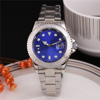 Wholesale Men Luxury Automatic Watch Replicas - automatic luxury watch blue gold face color calendar dials american quartz replicas watches men folded wrist watch sport spin gifts women