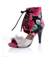 босоножки в стиле римского стиля оптовых-2017 новый римский стиль на высоком каблуке рыбы рот сандалии толстые с кружевом бантом женская рыба рот обувь цветок леди сандалии