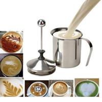 ingrosso vaso a doppio strato-800 ml doppio strato in acciaio inox espresso latte cappuccino latte gorgogliatore caffettiera Bubbler Machine Frother Double Schiuma Pump wn117
