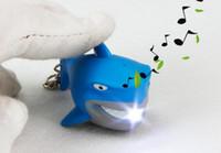 Wholesale toy sharks resale online - kids toy children keychain car keychain LED light keyring shark flashlight sound keychain for car promotion gift YK1161