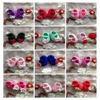 Wholesale Crochet Shoes Baby Prices - Hot Sale Handmade Baby Crochet Shoes Rose Flower Sun Flower Pattern Many Color Cotton 12 styles good quality good price Free Shipping