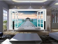 Wholesale Country Landscape Paintings - 3d room wallpaper custom photo mural Window landscape sea bridge scenery picture decor painting 3d wall murals wallpaper for walls 3 d