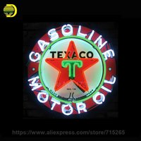 Wholesale Custom Gas - Wholesale- Texaco Oil Neon Sign 2016 Neon SignS Commercial Custom BOARD Neon Sign Glass Tube Handicraft gas SHOP Display VD 24X24 Present