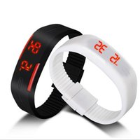 Wholesale Digital Watch Touch Led - 2016 Sports rectangle led Digital Display touch screen watches Rubber belt silicone bracelets Wrist watches 100pcs UP