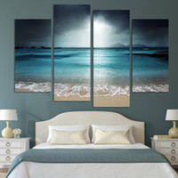 Wholesale Seaside Wall Decor - 4pcs set Blue Seaside No Frame Wall Art Oil Painting On Canvas Seascape Paintings Picture Decor Living Room