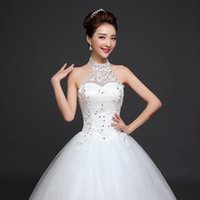 Wholesale Discount Bows Ribbons - Discount Wedding Gowns Sexy Halter Neck Off the Shoulder Ruffles Tulle Lace Pearls Crystal Vintage Wedding Dresses Ball Gown