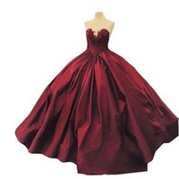 Wholesale Taffeta Sweetheart Sleeveless Ball Gown - Ball Gown Sweetheart Lace Up Floor Length 2017 Burgundy Quinceanera Dresses Satin Appliques Vintage Long Prom Gowns
