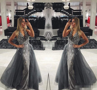 Wholesale White Summer Dres - Elegant Gray Lace Long Evening Dresses with Detachable Train Tulle Sleeveless V-Neck Crystals 2017 Long Prom Gowns Pageant Miss Beauty Dres