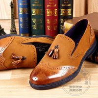 Brogue Hit Color Fumar Sapatos Brand Appliqued Cowhide Cover Heels Cap Toe Heel Cover Men Vestido Sapatos Matte Tassel