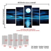 Wholesale Picture Full Moon - Frame 100% painted paintings full moon hanging in the deep blue sky and the sea Abstract wall decoration home decoration