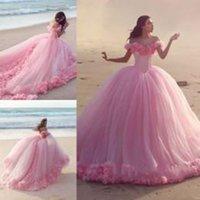 Wholesale Exquisite Quinceanera Dresses - Exquisite Off Shoulder Pink 2017 Quinceanera Dresses Tulle Train Flower Appliques Gothic Vintage Quinceanera Ball Gown