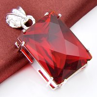 Wholesale Trendy Top Sale - 2017 Sale Jewelry Top Quality Luckyshine 2pcs Lot red quartz pendant 925 Silver Pendant Trendy Party Holiday Jewelry Gift p0045