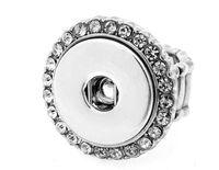 anéis de direção venda por atacado-10 Pcs ajustável anéis DIY fit 18mm snap botões moda feminina jóias de cristal anéis de flores direção 2017 Estilo