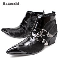 Wholesale Men Pointed Short Boots - Big size Western Man's Ankle Boots Iron Pointed Toe Handsome Short Boots Black Italian Style Men Boots Winter, EU38-46