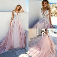 Wholesale New Court Style - Elegant Bohemian Wedding Dresses Backless Court Train Applique Vestidos De Novia Sleeveless Sheer Neck New Style Bridal Gowns
