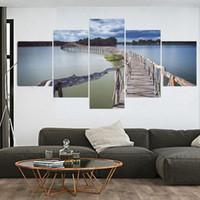 Wholesale Bridge Piece - 5 Piece Modern (No Frame) Canvas Oil Painting Art Wooden Bridge Cuadros Decoracion Wall Pictures For Living Room painting 5048