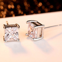Wholesale Solid White Gold Diamond Earrings - Princess Square Cut Clear Real White Diamond Solid CZ Silver Stainless Steel Setting Stud Earrings Pair