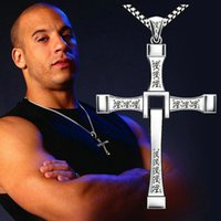 Wholesale celebrity movies - BC Jewelry Movie The Fast and the Furious Celebrity Dominic Toretto Crystal Jesus Cross Stainless S Pendant Necklaces Charm Jewelry BC-0050
