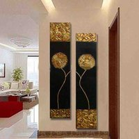 Wholesale Textured Oil Paintings - Free Shipping Hand Painted Modern Abstract Gold black Oil Painting Large vertical Textured Wall Decorative Canvas Art
