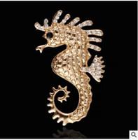Wholesale Crystal Seahorse Brooch - Set diamond seahorse brooches pin Cartoon animal men a corsage