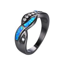Wholesale Fire Opal Ring Gold - Wholesale- 2016 New Fashion Blue Fire Opal CZ Cross Ring For Women Men Vintage Black Gold Filled Zircon Ring Wedding Jewelry RB0850