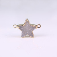 Wholesale Drusy Connectors - Gold Five-Pointed Stars Nature Bezel High Quality White Agate Stone Druzy Drusy Geode Connector Precious Stone Fit Charms Bracelet Finding