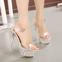 Wholesale High Heeled Thick Bottom Sandals - 14 Cm Thin High Heels Thick Bottom Waterproof Women Crystal Shoes Korean Plus Size Princess Wedding Sandals Shoes 35-43