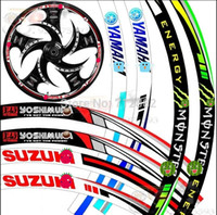 "Wholesale Reflective Stickers Wheel - 17''-19"" Wheel The flame Reflective Car Motorcycle Rim Sticker,motoycycle car wheel tire sticker Reflective rim tape"