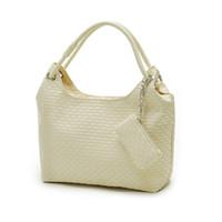 Wholesale Braided Handbag - Wholesale-brand Weaved knitting Weaving Braided black white apricot rose red ladies Leather hobos handbag Tote Shoulder Bag for women lady