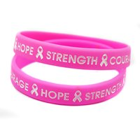 Livraison en gros 100PCS / Lot Hope Strenght and Courange Silicone Bracelet, Cheap Motivational Charity Wristband Taille adulte Rose