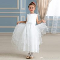Wholesale Christmas Time Wedding Dresses - Neonatal Flower Girl Dress Ankle Zipper Length For The First Time A Sacrament Of The Layered Tulle Dress Children 2017 Custom