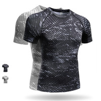 Wholesale 2017 New Quickly Dry Running Shirts Mens D Printing Compression Tights Gym Short Sleeve Fitness T shirt Sport Running Gym Tank Top Wear M21