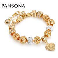 Wholesale Hot Sell Charm Beads - Hot Selling 2017 Heart Charm Bracelets & Bangles Gold Chain Bracelets For Women DIY Pulseira Feminina Jewelry AA148