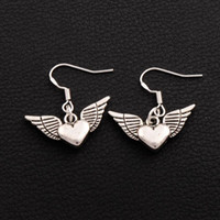 Wholesale Heart Shape Earrings Silver - 925 Silver Fish Hook Angel Wing Heart Shaped Earrings E189 40pairs lot Tibetan Silver Chandelier 25x27mm
