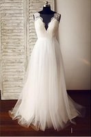 Wholesale Dramatic Train Wedding Dress - A-line Wedding Dress - Glamorous & Dramatic See-Through Wedding Dresses Sweep   Brush Train V-neck Lace   Tulle with Lace   Button