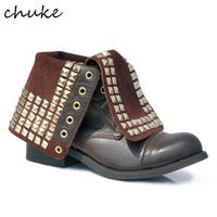 Wholesale Genuine Leather Wear - British Retro Style Women Rivet Imitate The Old Boots Special Slip-On Two Kinds Of Wear Martin Genuine Leather Shoes