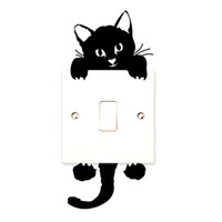 Wholesale Cute Light Switch Stickers - DIY Funny Cute Black Cat Switch Decal Wallpaper Wall Stickers Home Decoration Bedroom Kids Room Light Parlor Decor Sticker