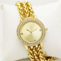 Wholesale Three Rounds Bracelets - Casual Luxury Women Quartz Watches Three chain Bracelet Tassels style Gold Watch strap Rhinestone Diamond inlay Clock dial 7 Color
