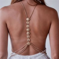 Wholesale Love Harness - Tassel Body Chain Carving Flower Crossover Sexy Bikini Beach Harness Necklace Gold Silver Color Belt Body Jewelry