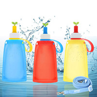 Wholesale Silicon Bottle Lid - 300Ml Hot Sale Silicon Cups Folding Water Bag Baby Kids Water Bags For Outdoor Travel Camping Mixed Color Wholesale