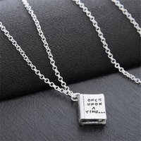 Wholesale fairy books - Letter Once Upon a Time Happily Ever After Fairy Tale Story Book Pendant Necklace for Women Jewelry drop ship 161815