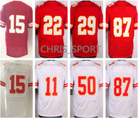 Jerseys de fútbol Elite Patrick Mahomes <b>Alex Smith</b> / Marcus Peters / Eric Berry / Justin Houston / Travis Kelce rojo / blanco juego rugby unifrom