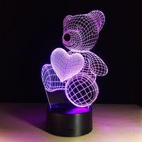 Wholesale Teddy Night Light - 2017 teddy bear love heart 3D Optical Night Light 9 LED Night Light DC 5V Factory Wholesale