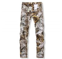 новый узор джинсов оптовых-Wholesale-2016 new Arrival summer Snakeskin pattern high quality men's jeans ,men's sknny Pencil Pants jeans ,Nightclubs pants