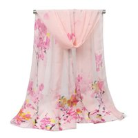 Wholesale flowering plum trees - Fashion Plum Blossom Tree Chiffon Scarf Shawl for Women Elegant Ladies Long Flower Design Scarves Shawls for Lady Girls 160x50cm