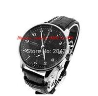 кожаный наручные часы реплики оптовых-Роскошные часы новый горячий продавать IW371447 из нержавеющей стали автоматические мужские часы черный циферблат Мужские спортивные наручные часы Кожаный ремешок